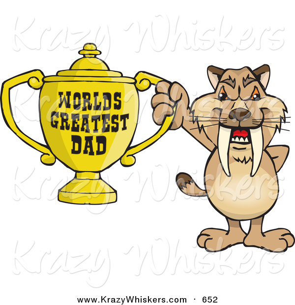 Critter Clipart of a Sabre Tooth Tiger Holding a Golden Worlds Greatest Dad Trophy