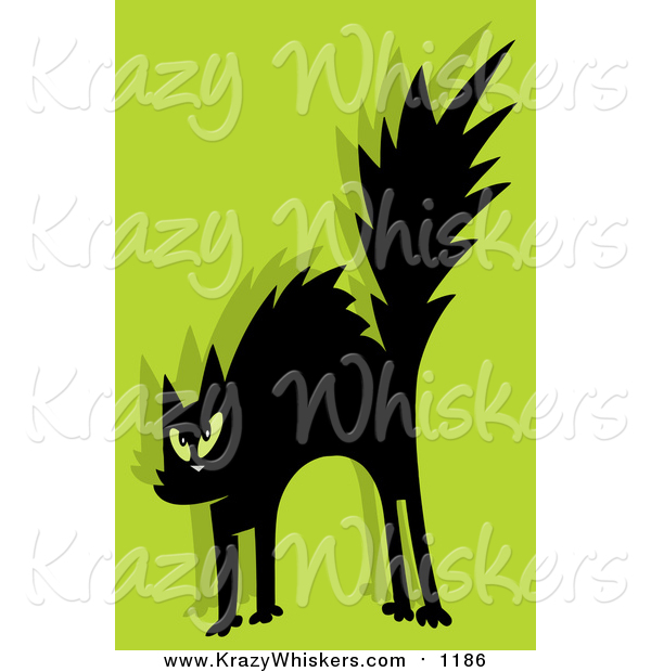 Critter Clipart of a Scared Black Cat on Green