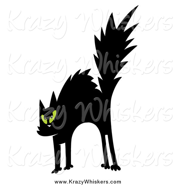Critter Clipart of a Scared Black Cat with Green Eyes