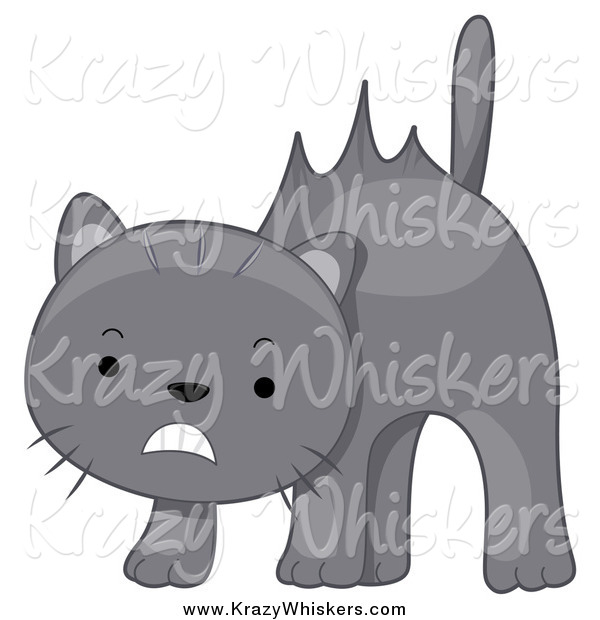 Critter Clipart of a Scared Gray Cat with Hair Sticking up