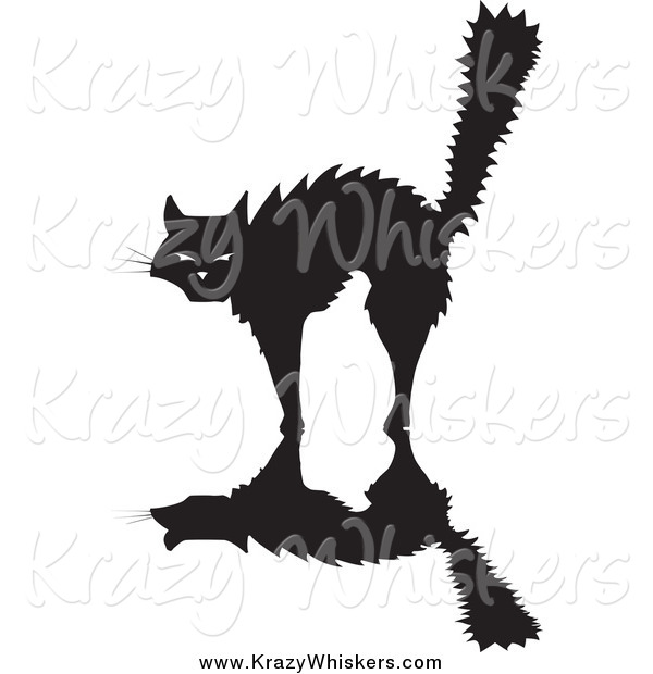 Critter Clipart of a Scared Silhouetted Black Cat Arching Its Back