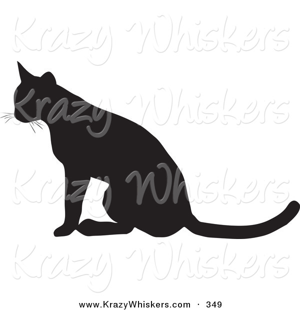 Critter Clipart of a Seated Cat Silhouetted in Black, Facing to the Left