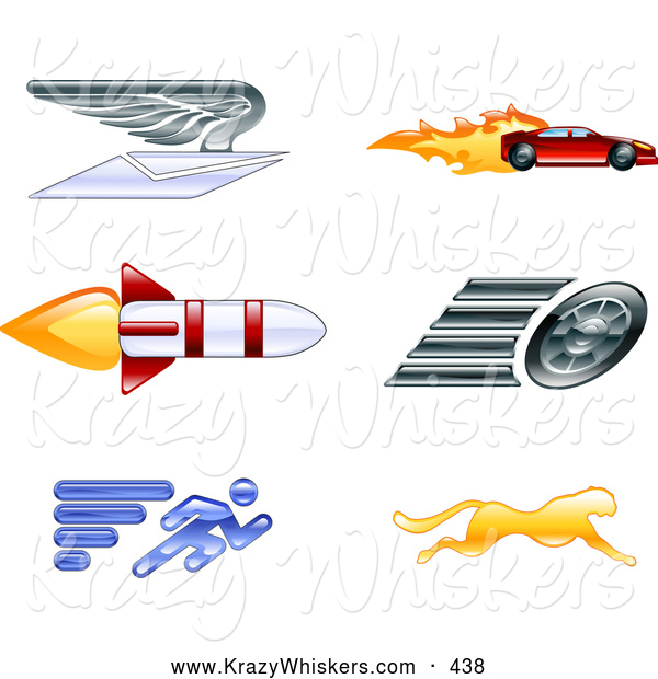 Critter Clipart of a Set of 6 Icons - Winged Envelope, Sports Car, Rocket, Tire, Sprinter and Cheetah