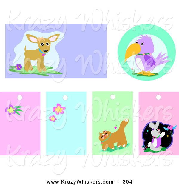 Critter Clipart of a Set of Chihuahua, Parrot, Flower, Cat and Rabbit Backgrounds and Blank Tags on White