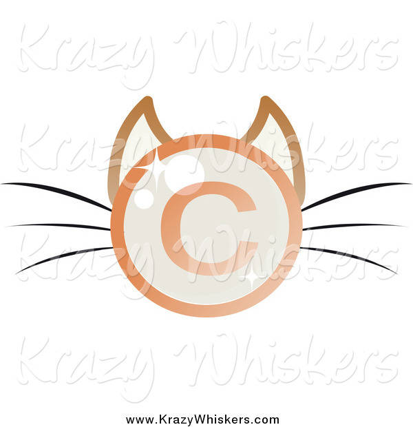 Critter Clipart of a Shiny Copyright Symbol Cat Face