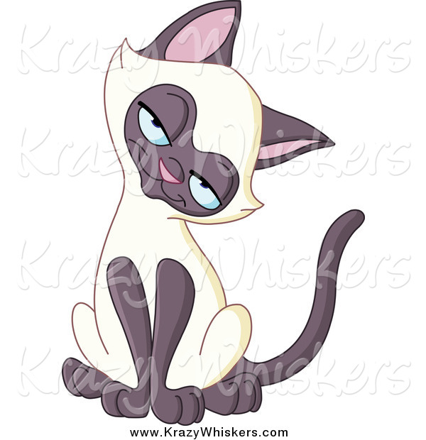 Critter Clipart of a Siamese Kitten Tilting Its Head and Smiling