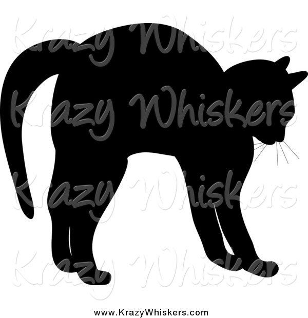 Critter Clipart of a Silhouetted Cat Stretching