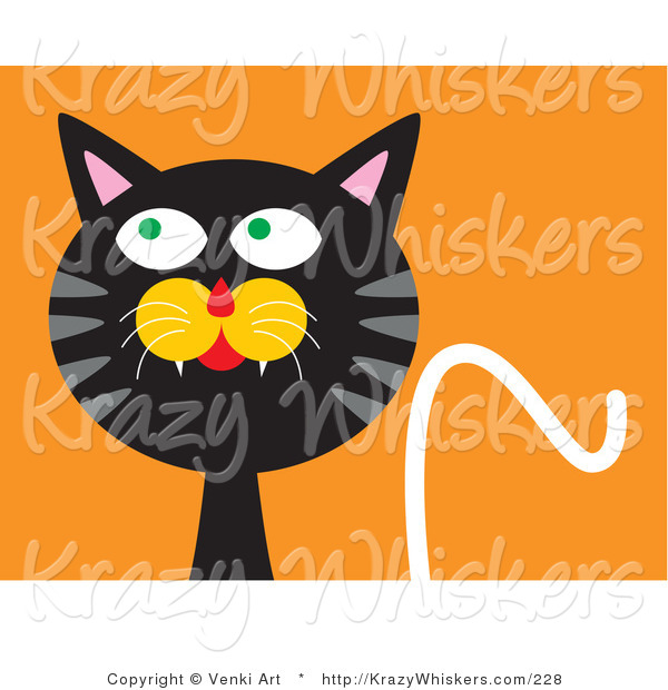 Critter Clipart of a Silly Black Cat with an Orange Background