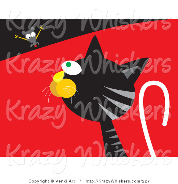 Critter Clipart of a Silly Mouse Teasing a Hungry Black and Gray Tabby Cat