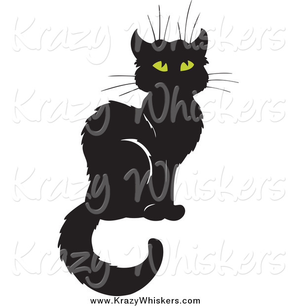 Critter Clipart of a Sitting Black Cat
