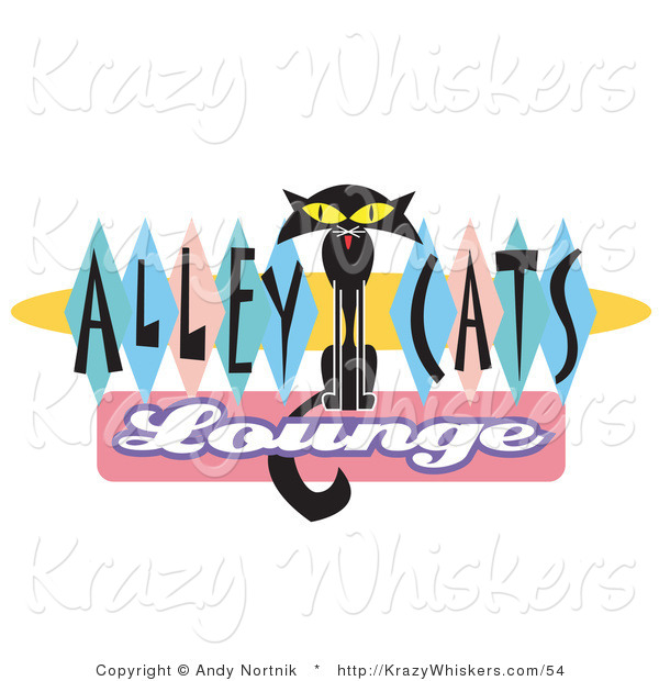 Critter Clipart of a Skinny Black Cat on an Alley Cats Lounge Sign