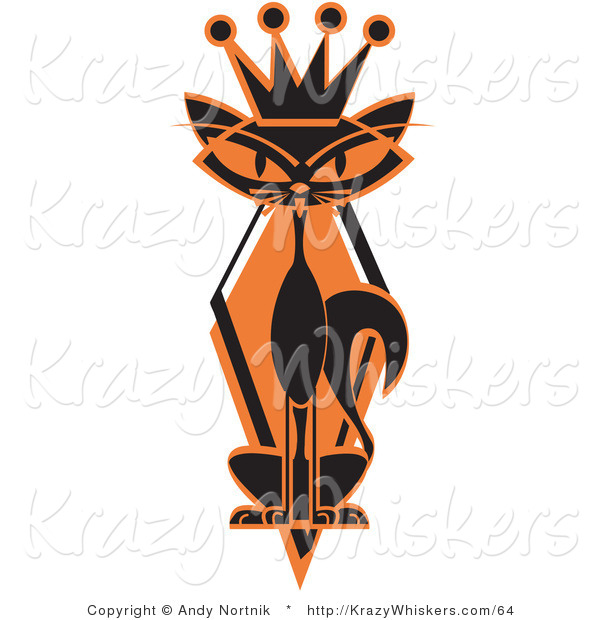 Critter Clipart of a Slim Black Siamese Cat with Orange Eyes in Silhouette, Wearing a Kings Crown