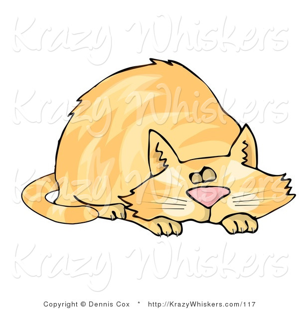 Critter Clipart of a Snoozing Chubby Orange Tabby Cat