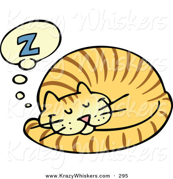 Critter Clipart of a Striped Ginger Cat Curled up and Taking a Pleasant Nap