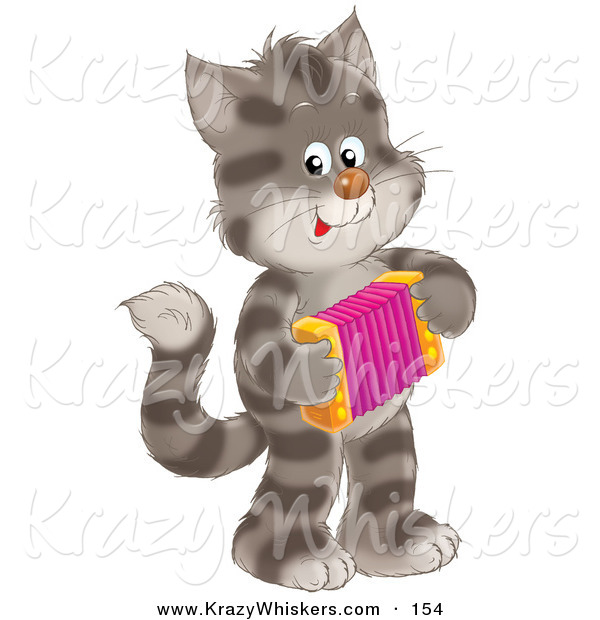 Critter Clipart of a Striped Gray Kitty Cat Standing on Its Hind Legs, Playing an Accordion