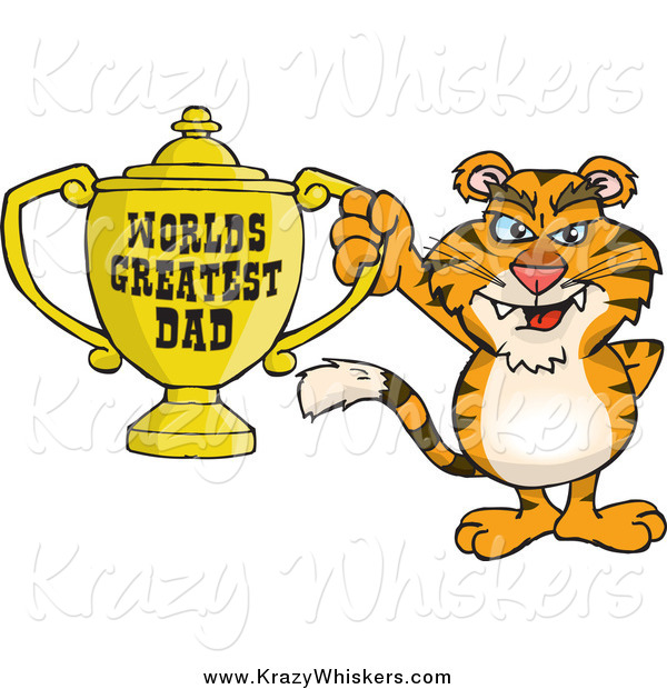 Critter Clipart of a Tiger Holding a Golden Worlds Greatest Dad Trophy