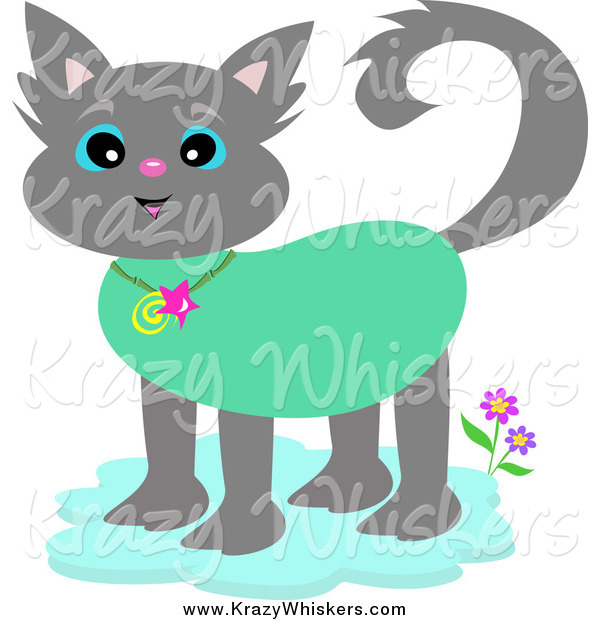 Critter Clipart of a Tropical Gray Cat Wearing a Collar