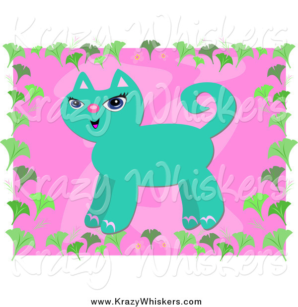 Critter Clipart of a Turquoise Cat over Pink with a Gingko Leaf Border