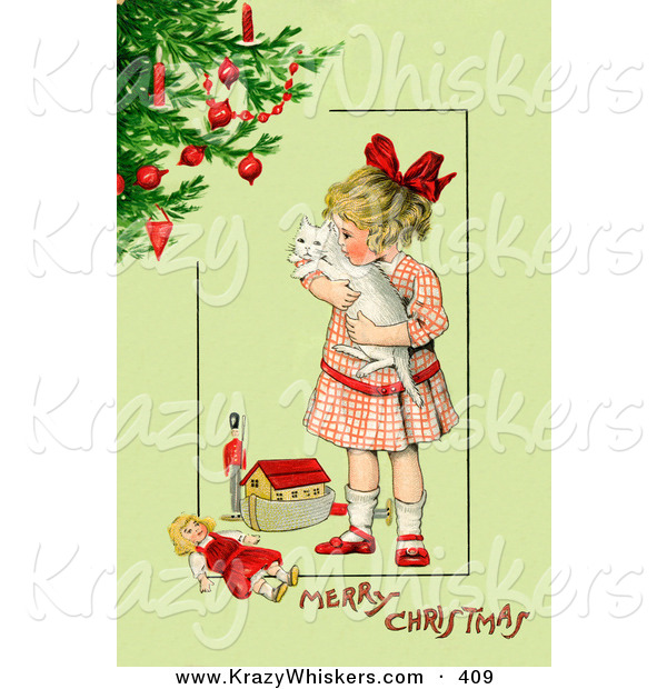 Critter Clipart of a Vintage Painting of a Little Victorian Girl Hugging Her White Cat and Standing by Toys near a Christmas Tree, on a Green Background with Greeting Text