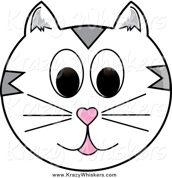 Critter Clipart of a White and Gray Happy Cat Face