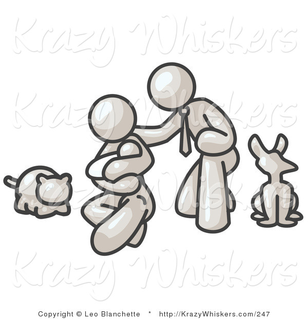 Critter Clipart of a White Family, Father, Mother and Newborn Child with Their Pet Dog and Cat