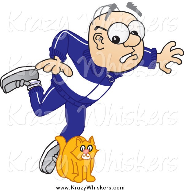 Critter Clipart of a White Senior Man Character Tripping over a Cat