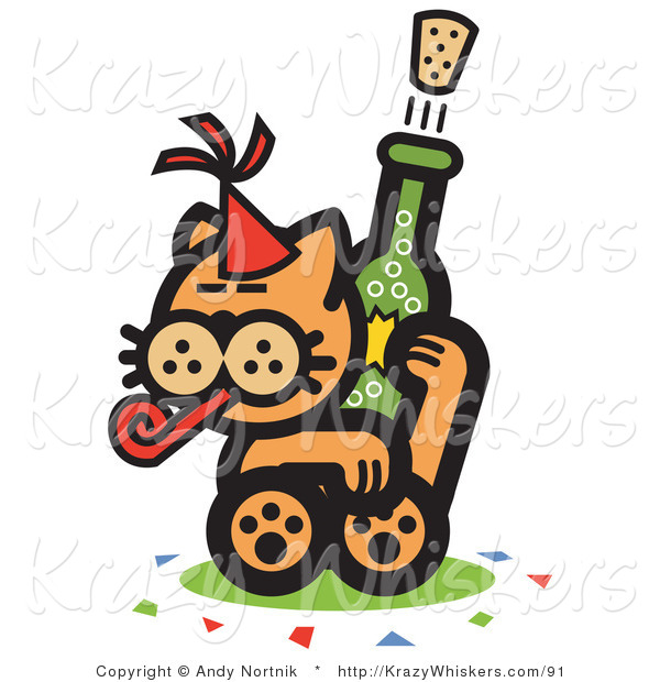 Critter Clipart of a Wild Orange Cat Wearing a Party Hat, Blowing a Party Blower and Popping a Cork off of a Bottle of Champagne