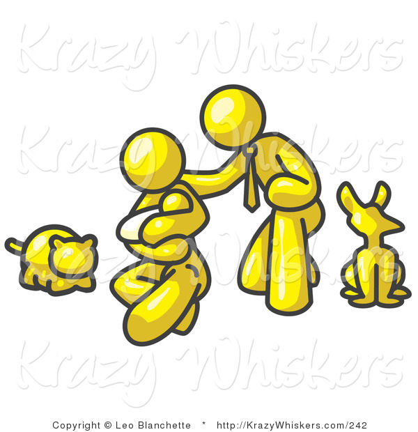 Critter Clipart of a Yellow Family, Father, Mother and Newborn Baby with Their Dog and Cat on White