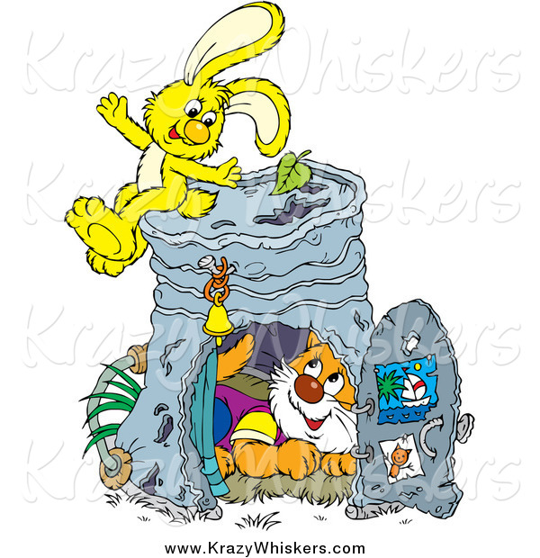 Critter Clipart of a Yellow Rabbit and Cat with a Pail