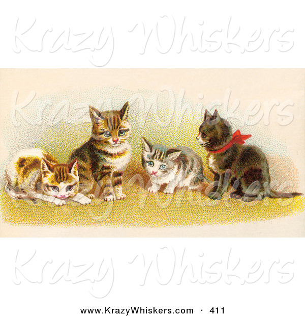Critter Clipart of AGroup of Four Adorable Victorian Kittens in a Group, One Wearing a Red Bow
