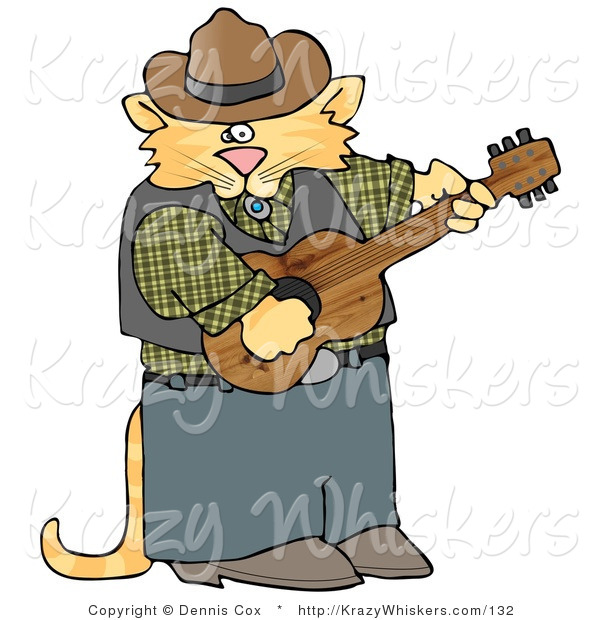 Critter Clipart of an Anthropomorphic Cowboy Orange Tabby Cat Playing Country Music on an Acoustic Guitar