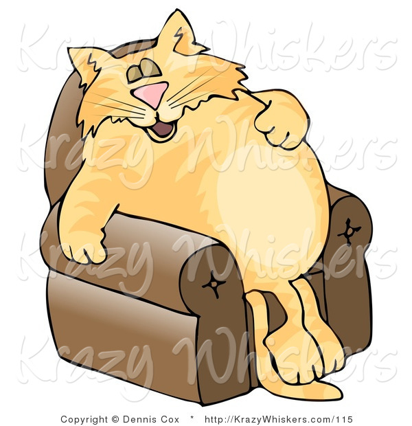 Critter Clipart of an Anthropomorphic Orange Tabby Cat Napping on a Recliner Chair