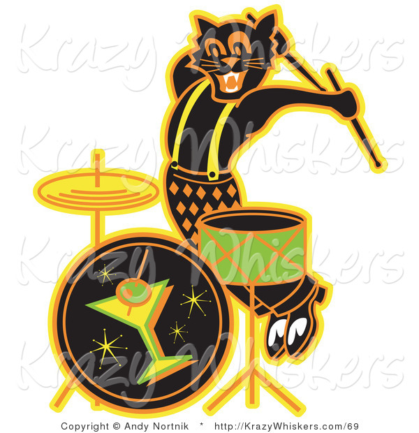 Critter Clipart of an Enthusiastic Black Cat Playing the Drums While Entertaining at a Bar Clipart Illustration