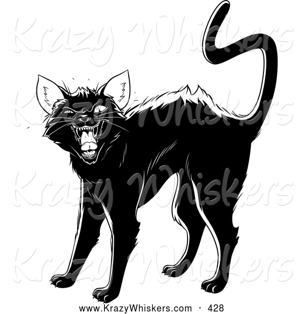 Critter Clipart of an Evil Black Cat Arching Its Back, Twitching Its Tail and Hissing at the Viewer