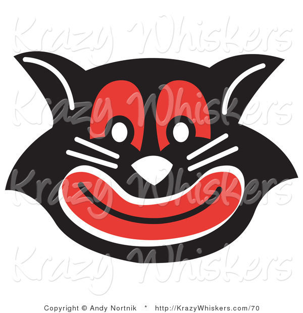 Critter Clipart of an Evil Black Cat with Red Eyes and Mouth Smiling