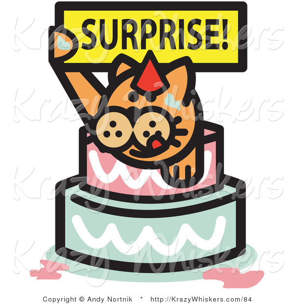 Critter Clipart of an Orange Birthday Cat Holding a Surprise Sign and Popping out of a Birthday Cake