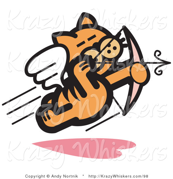 Critter Clipart of an Orange Cat Flying like a Romantic Cupid and Shooting Arrows with a Bow on Valentine's Day