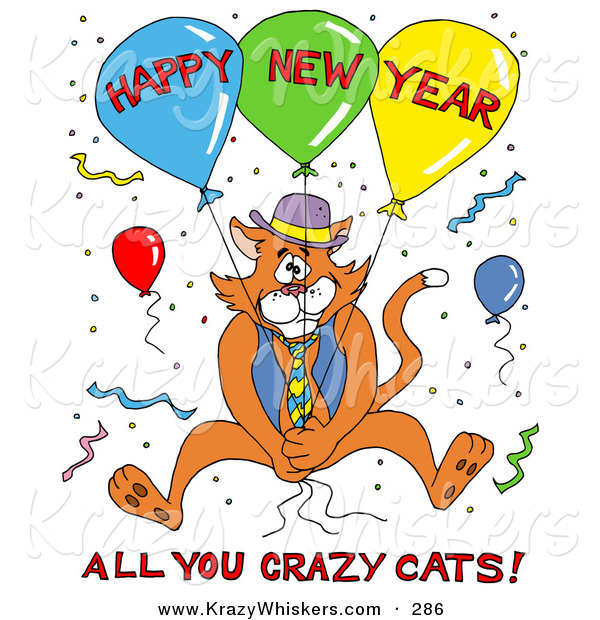 Critter Clipart of an Orange Cat in a Blue Vest and Tie, Holding onto Balloons and Surrounded by Confetti at a Party, with Happy New Year All You Crazy Cats Text