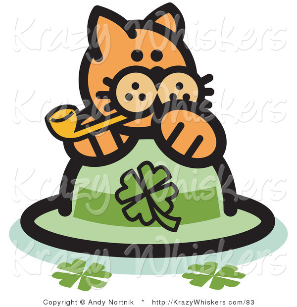 Critter Clipart of an Orange Cat on a Shamrock St Patrick's Day Hat, Smoking a Pipe