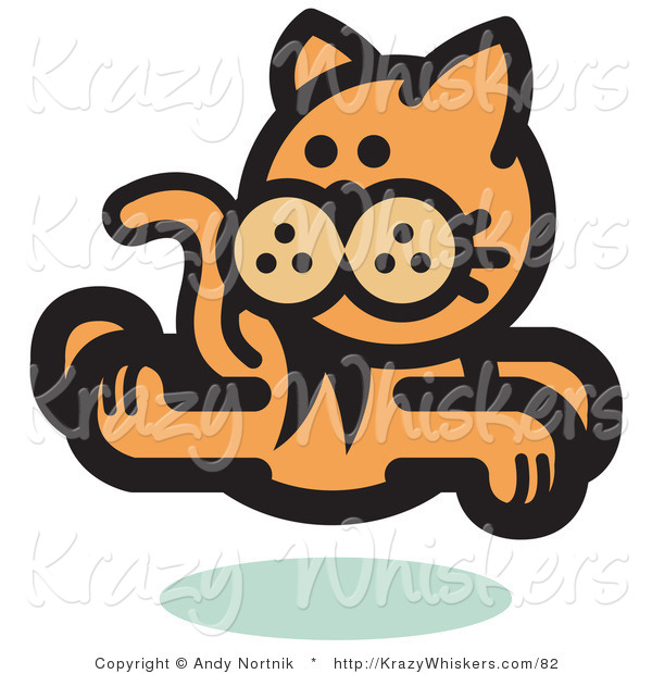 Critter Clipart of an Orange Cat Running and Looking Back over His Shoulder