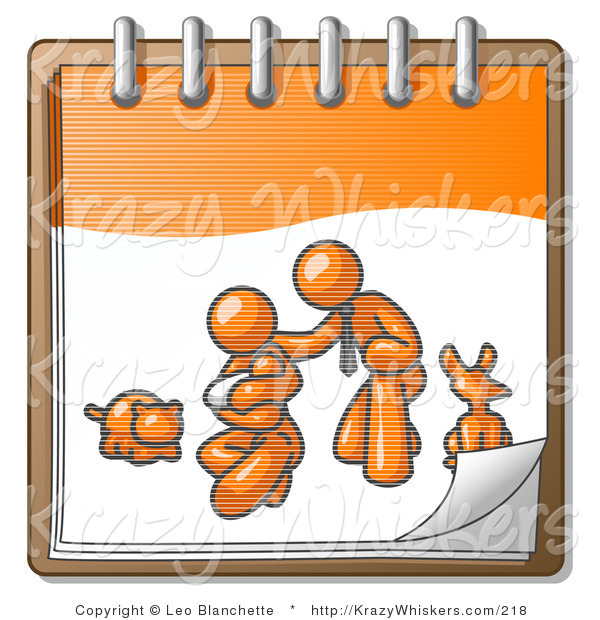 Critter Clipart of an Orange Family Showing a Businessman Kneeling Beside His Wife and Newborn Baby with Their Dog and Cat on a Notebook, Symbolizing Family Planning