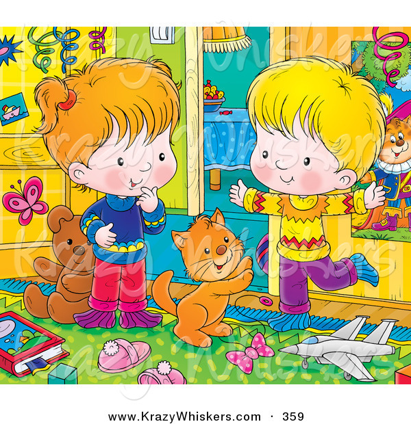 Critter Clipart of an Orange Kitty Cat Playing with a Happy Boy and Girl in a Messy Bedroom