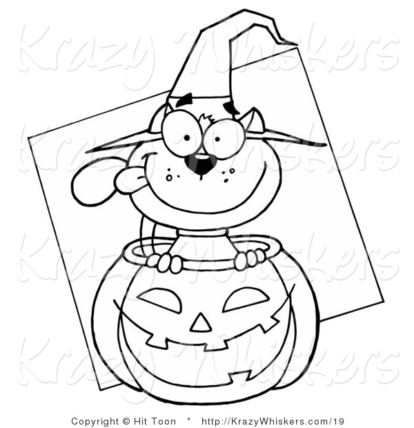 Critter Clipart of an Outlined Halloween Cat - Royalty Free