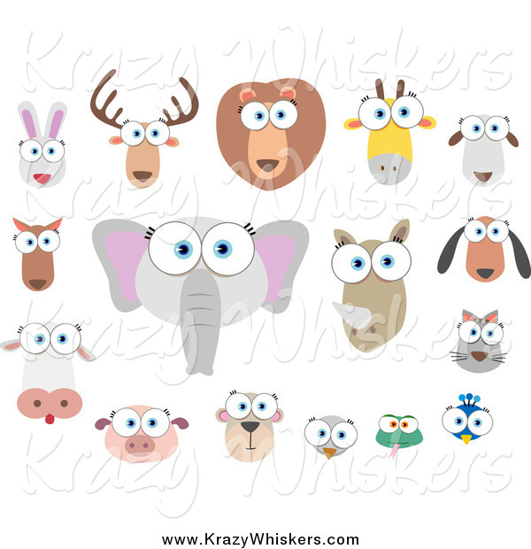 Critter Clipart of Big Eyed Animal Faces