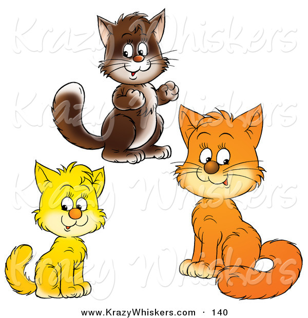 Critter Clipart of Brown, Yellow and Orange Kitty Cats Looking at the Viewer on White