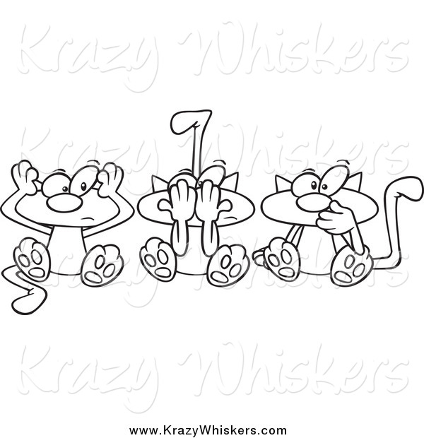 Critter Clipart of Cartoon Lineart No Evil Cats