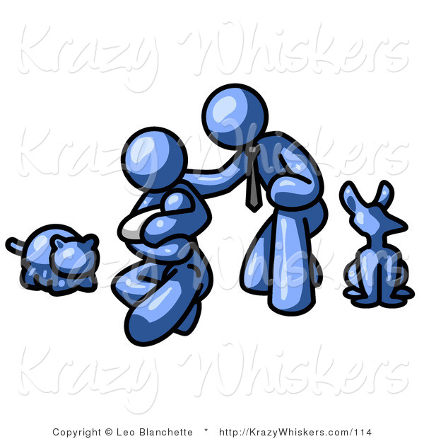 Critter Clipart of New Parents with Their Baby and Their Dog and Cat