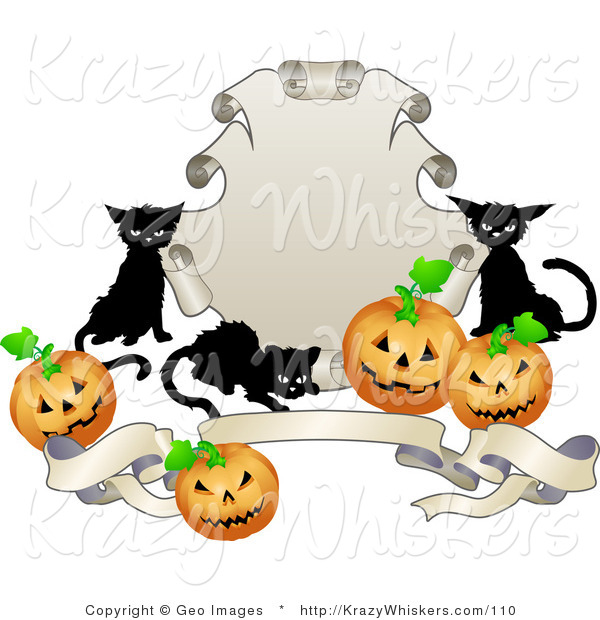 Critter Clipart of Three Black Cats and Halloween Jack O Lanterns Around a Shield and Banner