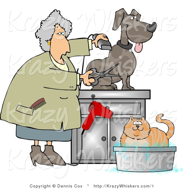 Kitty Clipart of a Groomer Using Clippers and Scissors on a Dog and Bathing a Cat - Royalty Free