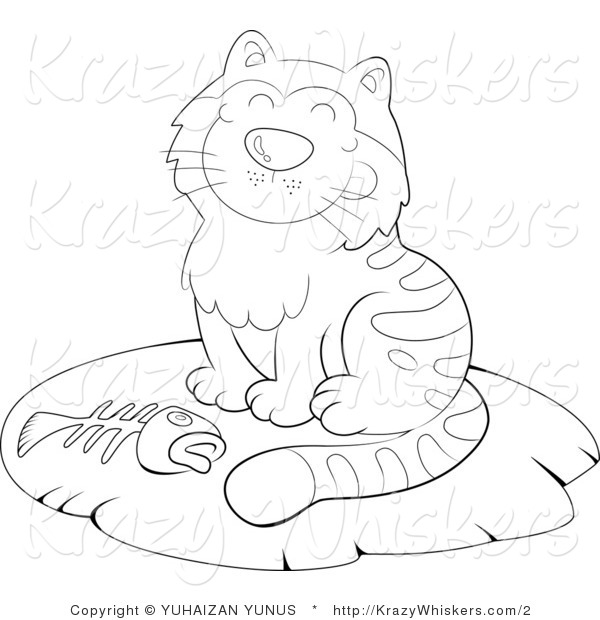 Kitty Clipart of an Outlined Cat with a Fish Bone - Royalty Free